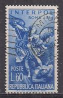 ITALIA 1954 INTERPOL SASS. 745  USATO VF - 1946-.. République