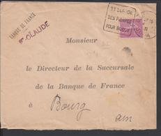 """FR - 1931 """"Banque De France St Claude"""" Semeuse 75 Ct Sur Enveloppe Interbancaire Vers Bourg - Flamme - B/TB - - Poststempel (Briefe)"""