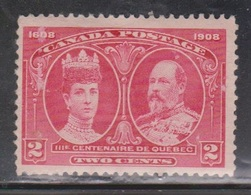 CANADA Scott # 98 MH - 300th Anniversary Of Quebec - Paper Adhesion - 1911-1935 Reign Of George V