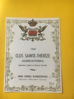 8227 - Clos Sainte-Thérèze  1969 Lalande-de-Pomerol - Bordeaux