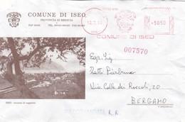 BUSTA VIAGGIATA - RACCOMANDATA -  DEL COMUNE  DI ISEO - ( BRESCIA ) ISEO - STAZIONE DI SOGGIORNO - Marcofilie - EMA (Print Machine)