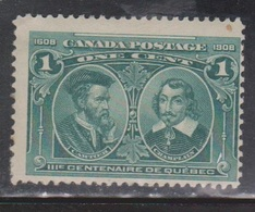 CANADA Scott # 97 MH - 300th Anniversary Of Quebec - Paper Adhesion - 1911-1935 Reign Of George V