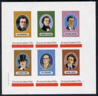 4424 (music) Grunay 1982 Composers Imperf Set Of 6 Values U/m (Berlioz, Chopin, Verdi, Stravinski, Grieg & Britten) - Music