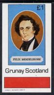 4425 (music) Grunay 1982 Composers (Mendelssohn) Imperf Souvenir Sheet (1 Value) Unmounted Mint - Music
