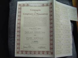 """Part Soc.""""Cie Des Compteurs Et Manomètres""""Liège 1952 Annulée Excellent état,reste Des Coupons - Industrie"""