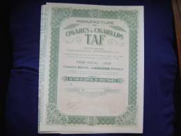 """Action""""Manufacture De Cigares Et Cigarillos TAF""""  Liège 1929 Excellent état (tabac) - Industrie"""