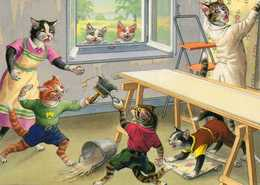 Chats Humanisés Faisant Du Papier Peint - Gatos