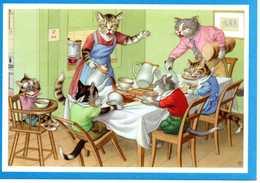 Chats Humanisés Au Petit Déjeuner - Cats