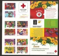 2018 Carnet Adhésif - BC 1548 Croix Rouge -LES FLEURS 10 Timbres - NEUF - LUXE ** NON Plié - Carnets