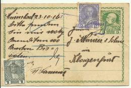 1916  Postkarte 5 Heller + ZF 1+2 Heller Von Mauthen Nach Klagenfurt  Zensurstempel (schwach) - Entiers Postaux