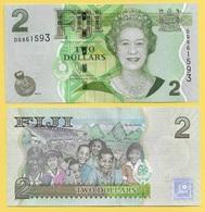 Fiji 2 Dollars P-109b 2011 UNC - Fidji