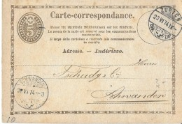 10 -  25 - Entier Postal Avec Cachets à Date De Zürich  Et Schwanden 1874 - Stamped Stationery