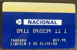 BRAZIL BANK CARD NACIONAL 1995 THIS BANK DOES NOT EXIST MORE - Credit Cards (Exp. Date Min. 10 Years)