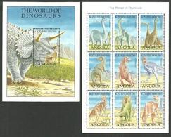 ANGOLA 1998 DINOSAURS PREHISTORIC ANIMALS 4 VALUES & 2 M/SHEETS MNH - Angola