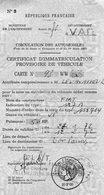 CERTIFICAT D'IMMATRICULATION PROVISOIE DE VEHICULE 1970  VAR N°93- LA VALETTE -FIAT - Mappe