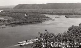 Iowa Wisconsin Wyalusing Pikes Peak State Park Riviere Bateau Ancienne Carte Photo 1940 - United States
