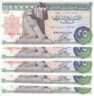 EGYPT 25 PT 1977 P-47 Sig/IBRAHIM #15 LOT X5 UNC NOTES */* - Egypt