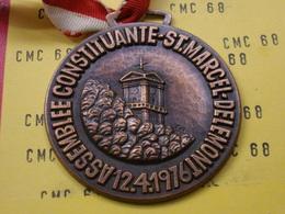 SUISSE Medaille   Assemblee Constituante-st. Marchel- Delemont 12.4.1976 Bronze  56mm 65 G - Other