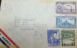 L) 1939 VENEZUELA, CRISTOBAL MENDOZA, SCOTT A64, BLUE, MONUMENT OF CARABOBO, AIRPLANE, 15C, MAP, GREEN, 30C, VIOLET, CIR - Venezuela