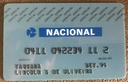 BRAZIL NACIONAL BANK CARD  - THIS BANK DOES NOT EXIST MORE - Credit Cards (Exp. Date Min. 10 Years)