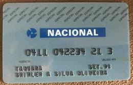 BRAZIL (2) NACIONAL BANK CARD  - THIS BANK DOES NOT EXIST MORE - Credit Cards (Exp. Date Min. 10 Years)