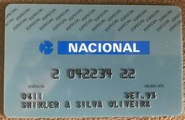 BRAZIL (3) NACIONAL BANK CARD - SET/1993 - THIS BANK DOES NOT EXIST MORE - Credit Cards (Exp. Date Min. 10 Years)