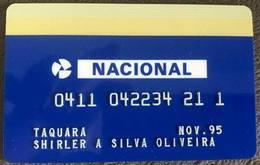 LSJP BRAZIL BANK CARD OF NACIONAL - 11/1995 - THIS BANK DOES NOT EXIST MORE - Cartes De Crédit (expiration Min. 10 Ans)