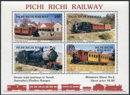 Australia 1988 PICHI RICHI Local Railway Letter Fee Stamps MS#2 Eisenbahn Chemin De Fer TRAIN Steam Locomotive Railroad - Trains