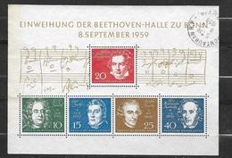 Allemagne Bloc N° 1  Beethoven Oblitéré   B/TB                Soldé.  à Moins De  10 % De La Cote   ! ! ! - Music