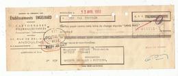 Lettre De Change , établissements ENGELHARD , Cartonnages Pharmaceutiques , ANGOULEME , 2 Scans  , Frais Fr 1.45 E - Bills Of Exchange