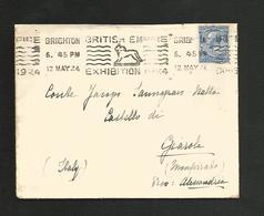 GB OBLITERATION MECANIQUE SUR LETTRE DE BRIGHTON POUR L'ITALIE DU 12/5/1924 - Poststempel