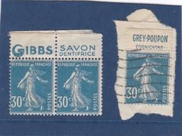 3 Timbres Semeuse 30c Bleue Avec Bande Publicitée - Advertising