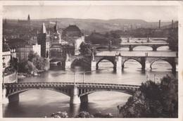 Alte Ansichtskarte Aus Prag -Totalansicht über Brücken- Als SS-Feldpost Gelaufen - Tschechische Republik