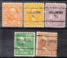 USA Precancel Vorausentwertung Preo, Locals Pennsylvania, Shillington 704, 5 Diff., Perf. 11x10 1/2 - Vereinigte Staaten
