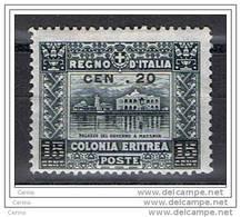 ERITREA  VARIETA':  1916  SOPRASTAMPATO  -  20 C./15 C. GRIGIO  L. -  SENZA T  DI  CENT. -  SASS. 46 C - Eritrea