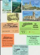 Lot De 10 Tickets Visites Trains Touristiques Villes Et Sites Rhune, Bourges, Le Havre, Carnac... - Tickets - Vouchers