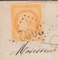 Lettre Tournon-sur-Rhône 1872 Pour Saint Victor Cérès 15 Centimes Ardèche Étude Moutin Avoué - Marcofilie (Brieven)