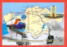 Kazakhstan 2004. The Railways Of Kazakhstan Are 100 Years Old.Block. - Kazakhstan