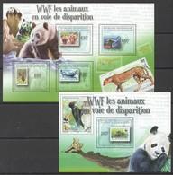 W079 2011 CENTRAFRICAINE FAUNA ANIMALS WWF DISPARITION 1KB+1BL MNH - W.W.F.