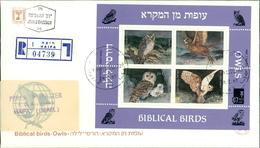 Israel FDC 1987, Vögel Der Bibel (II), Biblical Birds, Eule, Owls, Hibou, Michel Block 33 (4-137) - FDC