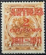 Uruguay 1911 MNH Centenary Of The Battle Of Las Piedras Overprint ARTIGAS No Gum - Uruguay