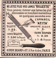 "Ne Jetez Plus Vos Lames ""Gillette"" - Appareil Atita - Kirby.Beard & C 5,rue Auber Paris - Advertising"