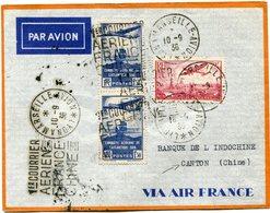 """FRANCE LETTRE PAR AVION AVEC CACHET """"1er COURRIER AERIEN FRANCE-CHINE"""" DEPART LYON A MARSEILLE-AVION 10-9-36 POUR CANTON - Postmark Collection (Covers)"""