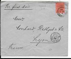 1898 - MARITIME ASIE CHINE - OBLITERATION MARITIME LIGNE N PAQUEBOT N°6 Sur ENVELOPPE De HONGKONG => LYON - Hong Kong (...-1997)
