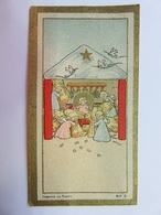 211 - Image Miniature  - Crèche Naissance - Anges - Dessin Enfantin - B.F.2 - Images Religieuses