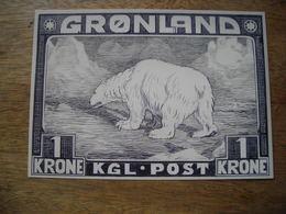 Carte Répresentation Du Timbre 75e Anniversaire Poste Groenland, Ours Polaire - Greenland