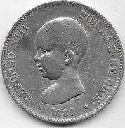 Espagne - 5 Pesetas Argent - Alfonso XIII - 1888 - TB - [ 1] …-1931 : Royaume