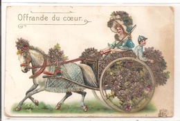 Fantaisie - Carte Gauffrée, Avec Des Paillettes: Attelage. - Fantaisies