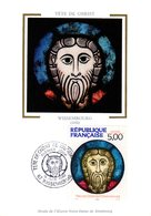 """"""" TETE DE CHRIST DE WISSEMBOURG  """"  Sur Carte Maximum En Soie De 1990. N° YT 2637. Parfait état. CM - Christianity"""