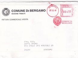 BUSTA VIAGGIATA , FATTURA COMMERCIALE APERTA - COMUNE DI BERGAMO -TASSA PER L' OCCUPAZIONE DI SPAZI ED AREE PUBBLICHE. - Affrancature Meccaniche Rosse (EMA)